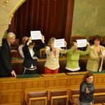"""""""Fideszes fiúk! Az asszony verve jó?"""" – Monoklival flashmoboztak a parlamentben"""