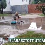 Ha esik az eső, valóságos tóvá változik egy miskolci utca