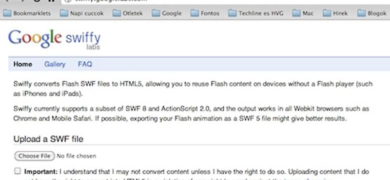 Google Swiffy: konvertálás Flash-ből HTML5-be